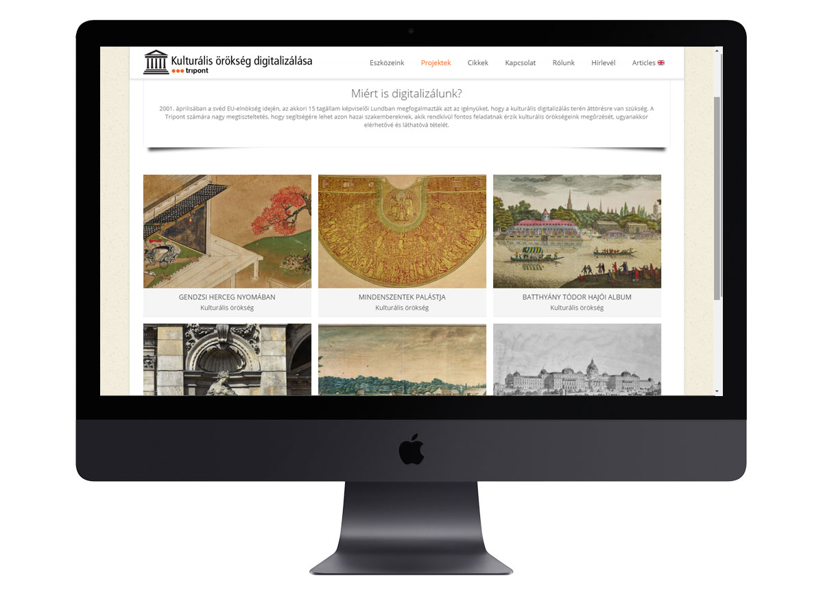 Kulturális örökség digitalizálása mockup